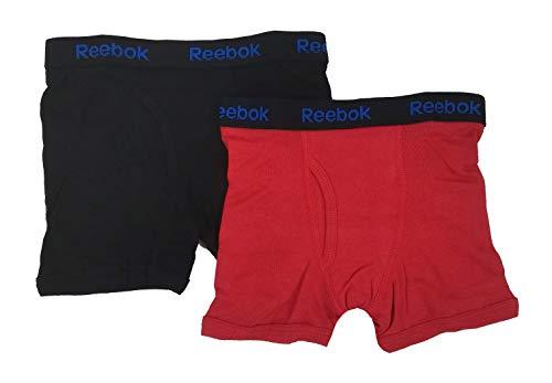 Reebok Jungen Boxershorts aus Baumwolle, Schwarz/Rot, Größe S (6/7), 2 Stück