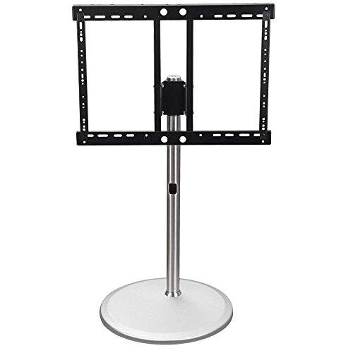 Acero inoxidable giratoria de televisión Planta Soporte for televisores de 60-80 pulgadas, Negro TV Soportes de suelo con el soporte sobre ruedas Ruedas Hasta 175 kg de inclinación ajustable en altura