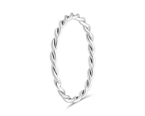fajno Geflochtener Silberring für Frauen 2mm | Silberschmuck, Sterling Silber | Silberring Damen handgefertigt, schlicht, elegant