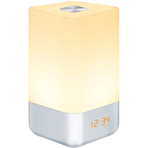 Wake Up Light Alarm Clock, Bedside Touch Lamp with Sunrise Simulation, 5 Natural Sounds, Multi Light...