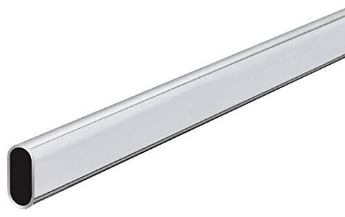 Gedotec Kleiderstange 2500 mm Schrank-Stange Oval Wand-Montage | Schrankrohr Stahl verchromt | Möbelrohr 30 x 15 mm | Möbelstange kürzbar | 1 Stück - Garderobenstange mit 2 Stück Schrankrohrlager