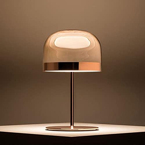 DO-MF Lámpara de Mesa de Cristal de champiñones, LED Simple y cálido LED Metal posmoderno Escritorio de la Cama Lámpara de Lectura Sofá, 24 * 42 cm