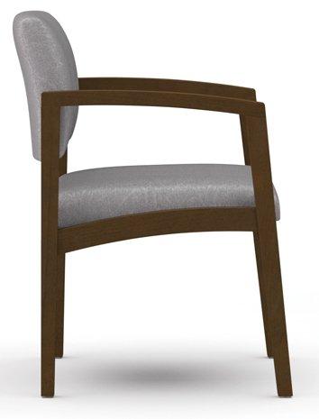 Lesro Lenox L1101G5 Guest Office Chair fabricGreen VinylfinishWalnut