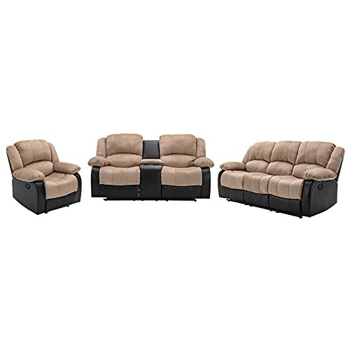 Nathaniel Home 3 Pieces PU Leather Sofa Set with Cup Holder Footrest Comfortable Family Recliner for Living Room Bedroom Home Theater Seating, Beige