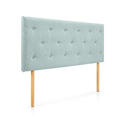 Cabecero tapizado acolchado para dormitorios con estructura en madera de pino Cabecero de cama acolchado con espumación HR Cabecero tapizado en tela antimanchas Para camas de 105 (115 x 100 cm) tela verde agua