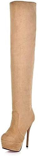 Stiefel de Moda para damen Tela elástica Stiefel clásicas de otoño e Invierno Tacón de Aguja Punta rotonda Stiefel Sobre la Rodilla schwarz braun Almendra Boda Fiesta y Noche,Almendra,US5 EU35
