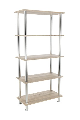 King Modern - Estantería de 3 niveles con estantes de 90 cm de ancho y patas cromadas moderno 5 Shelf roble