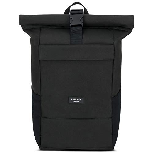 Roll Top Backpack Womens & Mens Black - Larkson No 4 Daypack Made from...