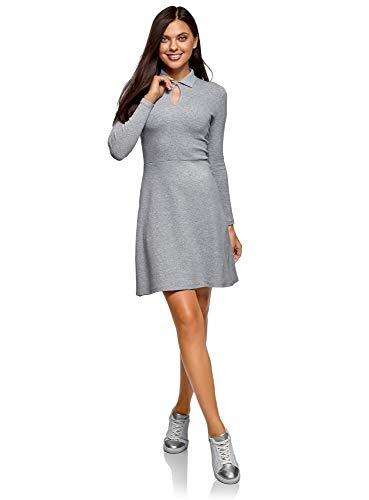 oodji Ultra Damen Kleid mit Umlegekragen und Ausgestelltem Rock, Grau, DE 44 / EU 46 / XXL