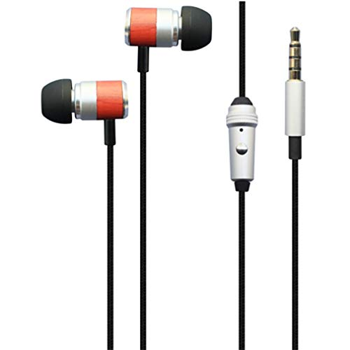 Hi-Fi Sound Wired Earphones Headphones Handsfree Mic Headset Wooden...