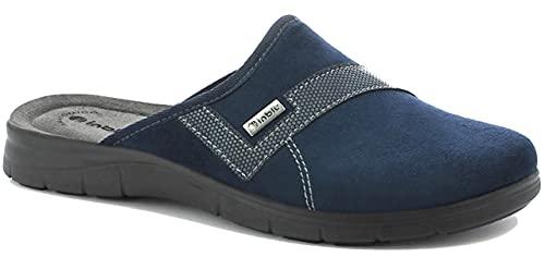 inblu BG000042 Blu Ciabatte Pantofole Uomo Invernali Sottopiede Soft, Vera Pelle, ANATOMICO, Zeppa 2 CM
