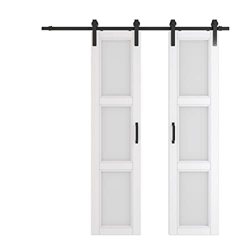 3 Lattice Glass Double Sliding Barn Door, 42in x 84in, White, MDF, and Water-Proof PVC Covering, Ready to Install, No More Slab Assembly Needed, with Barn Door Hardware