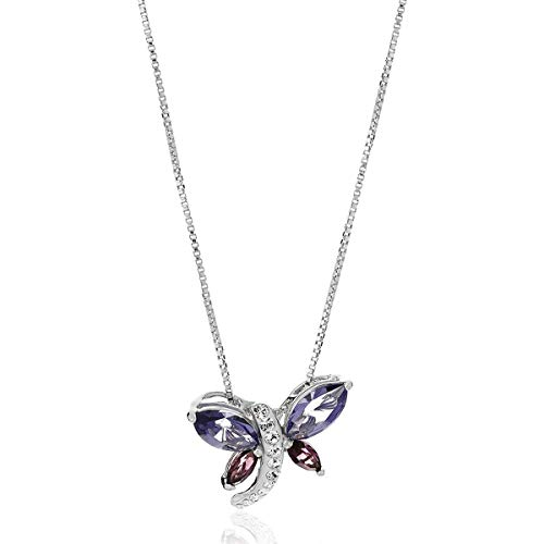 Crystaluxe Dragonfly Pendant with Swarovski Crystals in Sterling Silver, 18