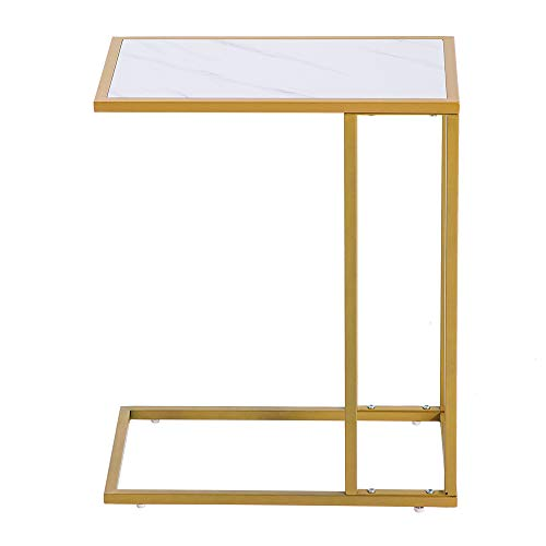 FTYYSWL Marble Simple C-side Table [30x48x61cm] White