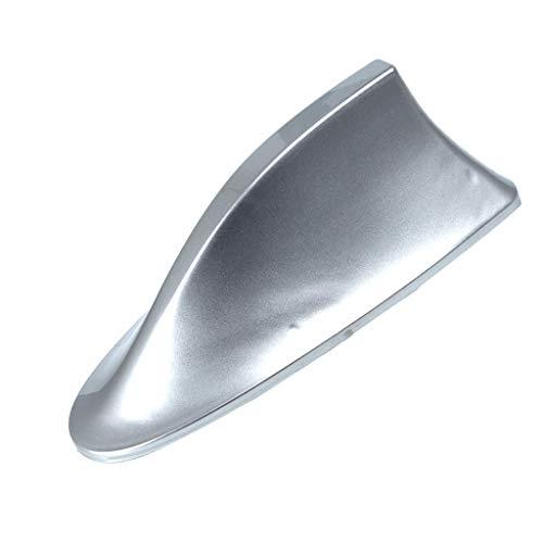 FBGood - Antenna per tettuccio auto, a pinna di squalo, ricezione segnale radio FM AM, con fissaggio argento