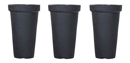 Kreher 3 XXL Pflanzkübel aus Kunststoff in Anthrazit mit Einsatz. Nutzvolumen pro Kübel ca. 58 Liter. Massive Ausführung. Maße pro Topf ca. 48 x 74 cm.