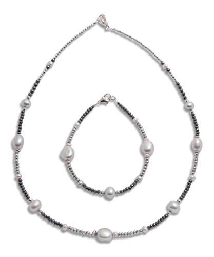 Juego de cadena y pulsera de orfebrería de alta calidad de Alemania (plata de ley 925), cadena y pulsera de perlas para mujer, con piedras preciosas de hematita.