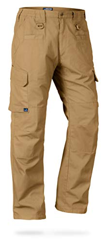 LA Police Gear Men's Water Resistant Operator Tactical Pant with Elastic Waistband - Coyote Brown - 28 x 30