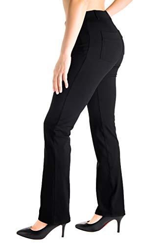 Yogipace, Belt Loops, Women's Petite/Regular/Tall Dress Pant Straight Leg Yoga Work Pants Slacks Back Pockets Office Commute Travel,31',Black,Size L