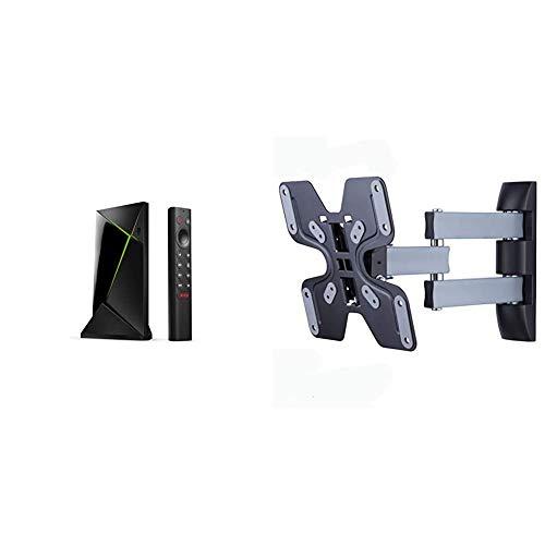 NVIDIA Shield TV Pro & Amazon Basics Performance vollbewegliche TV-Dreiarm-Wandhalterung für 58,4-127 cm (23-50 Zoll) TV-Geräte
