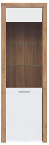 Boardd - Mueble de cristal de pie con 1 puerta de cristal, color roble/blanco brillante, 62 x 192 x 39 cm