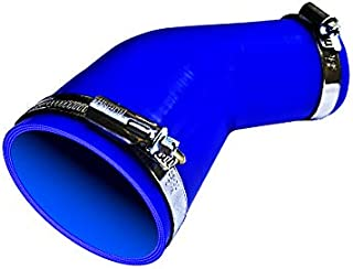 TOYOKING ホースバンド付き ハイテク シリコンホース エルボ 45度 異径 内径 70Φ→76Φ 青色 ロゴマーク無し インタークーラー ターボ インテーク ラジェーター ライン パイピング 接続ホース 汎用品
