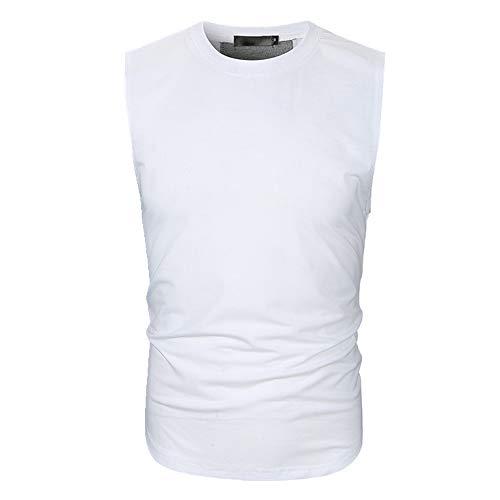 Chaleco sin mangas para hombre con panel trasero y cuello redondo sin mangas para hombre Blanco blanco M