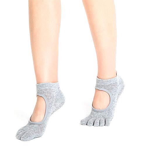 WM&LJP Yoga-Socken, rutschfeste Socken Mit Fünf Zehen, Yoga-Socken Für Frauen - Für Pilates, Barre, Ballett, Fitness (2 Paar),B