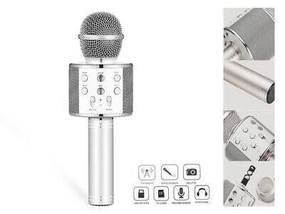 ValmoniSport Karaoke-Mikrofon, kabellos, dynamisch, Stimmverzerrer, KTV, Bluetooth, tragbar, Song, Lautsprecher, Player, Eco-Funktion, Stimmwechsel, Helium, Kinder, Damen, Herren silber