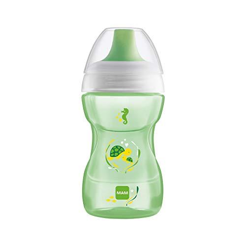 MAM Fun to Drink Trinkbecher 270 ml, Schnabelbecher für den Übergang zum Glas, Trinklernbecher mit ergonomischer Form, 8+ Monate, grau