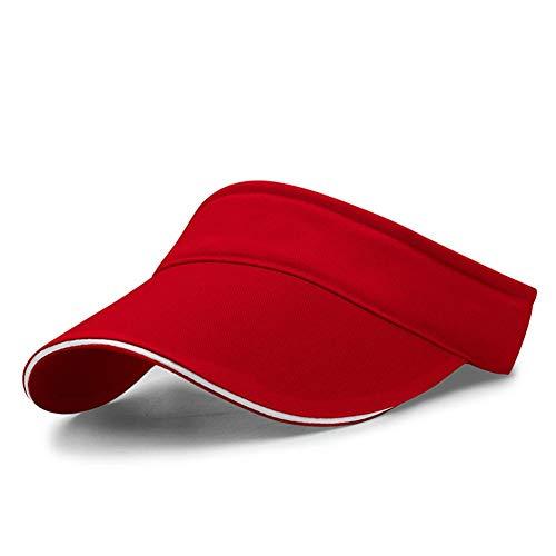 VSUSN Unisex Visor Cap Sonnenhut Einstellbar Sommerhut mit Klettverschluss für Damen und Herren, Rot