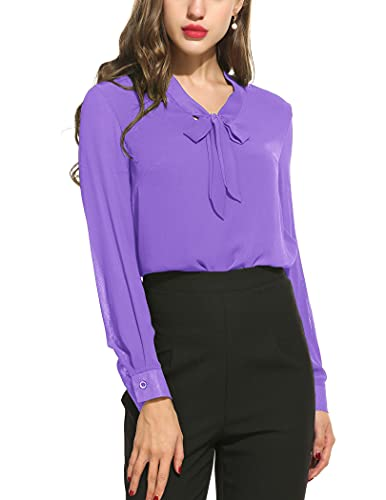 Womens Bow Tie Neck Blouse Long Sleeve Formal Tops,Purple,X-Large