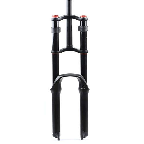 """Horquilla de suspensión delantera Fat Tire DH MTB Control doble de hombro Amortiguador Aire Amortiguador Rebound Ajuste 1-1 / 8 """" QR Bicicleta ultralige del eje ( Color : B-BLACK , Size : 27.5 INCH )"""