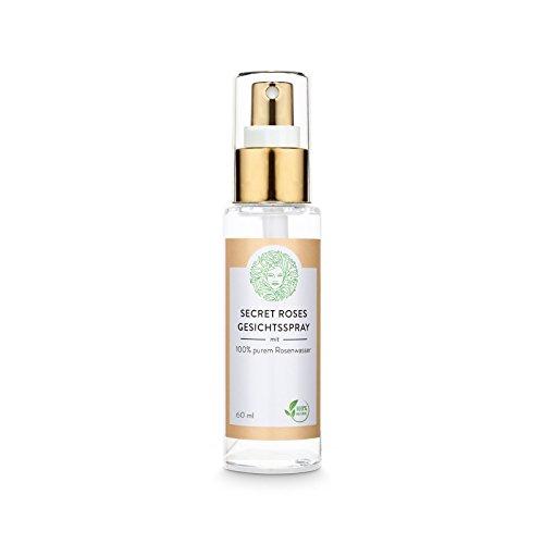 Natürliches Secret Roses Gesichtsspray – pures Rosenwasser ohne Alkohol - für alle Hauttypen - Veganes Gesichtswasser (60ml)