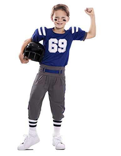 Generique - American Football-Kinderkostüm für Jungen Sportliche-Verkleidung blau-Weiss-grau - 122/134 (7-9 Jahre)