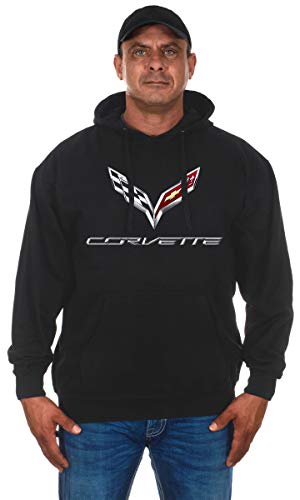 Jh Design Men's Chevy Corvette C 7 Black Pullover Hoodie Sweatshirt (X-Large, BSC6-black)
