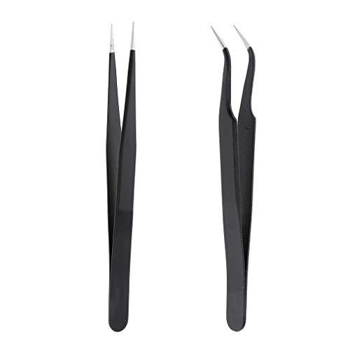 Homyl Pince Courbée pour Faux Cils Pincette Droite en Acier Inox pour Extension de Cils,Sourcils ou Nail Art Ongles