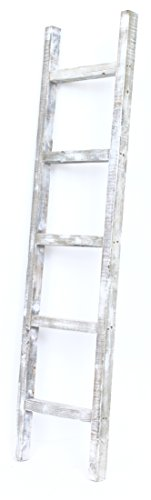 BarnwoodUSA Rustic Farmhouse Decorative Ladder - Our 5 ft Ladder can be Mounted Horizontally or Vertically and is Crafted from 100% Recycled and Reclaimed Wood | No Assembly Required | White