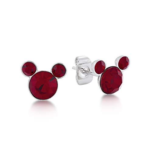 Disney Mickey Mouse enero Granate Rojo Cristal Swarovski piedra de nacimiento Pendientes