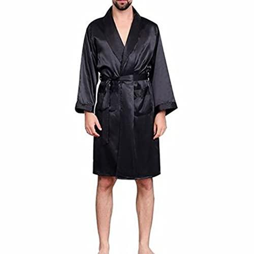 DEWUFAFA Hombres Albornoz Pijama Silk Robe Thin Satin Longseleeved (Color : Black, Size : XX-Large)