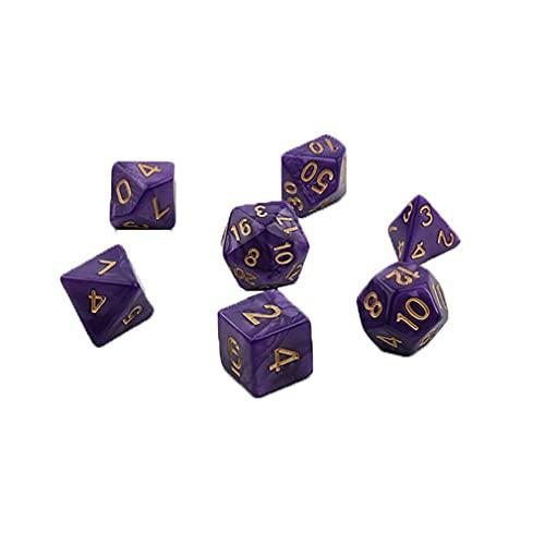 7pcs / Set Dados para Juegos Dados de múltiples Caras Dados de acrílico de múltiples facetas de Escritorio Púrpura