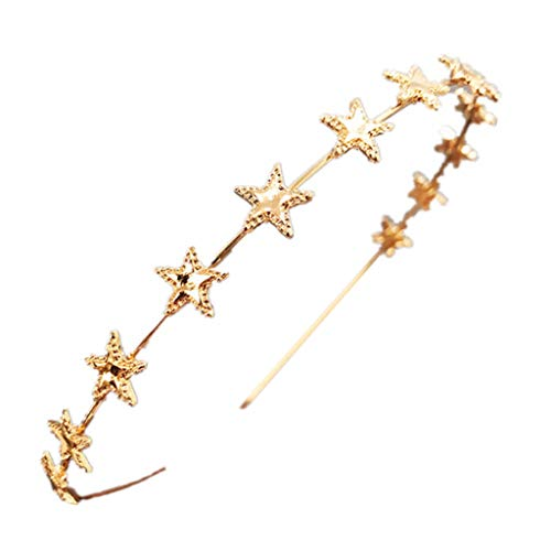 niumanery Korean Ladies Glitter Metallic Gold Silver Thin Headband Pentagram Star Charms Decor Hair Hoop Princess Birthday Party Headpiece G