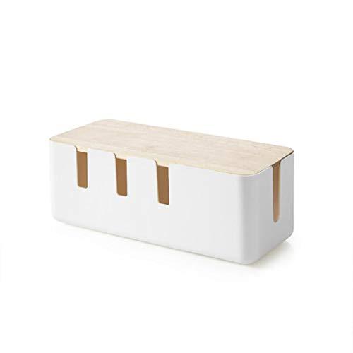 GROOMY Tragbare Steckdosenleiste Draht Fall Anti Staub Ladegerät Buchse Kabel Organizer Desktop Netzwerk Linie Ablagefach Box-Log & White