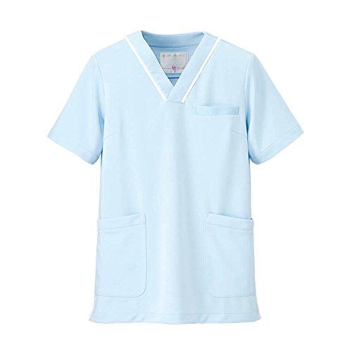 ナースリー マルチジャケット 透け防止 ストレッチ スクラブ 医療 看護 ナース 白衣 レディース 5L サックス×ホワイト 281703A