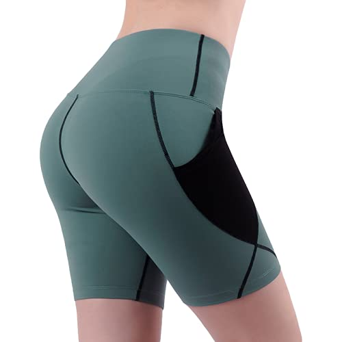 Pantalones Cortos Deportivos de Costura de Contraste de Color a la Moda para Mujer Pantalones Cortos de Entrenamiento de Yoga de Cintura Alta Ajustados para Correr de Verano Large