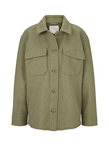 TOM TAILOR Denim Damen 1024550 Overshirt Jacke, 26339-Dull Olive Green Melangé, M