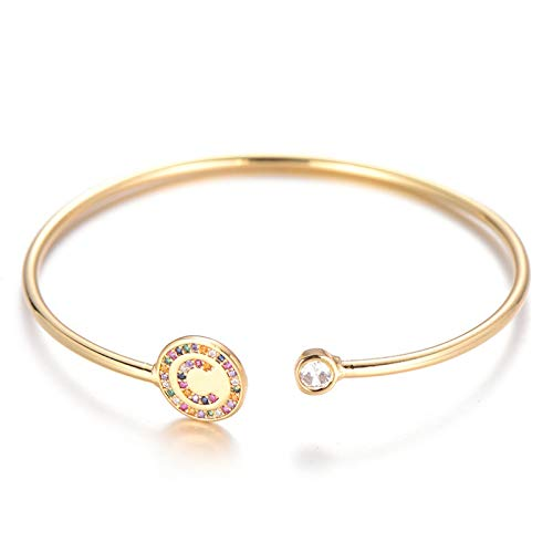 Jewellery Bracelets Bangle For Womens Initials Letter Bracelet Gold Color Cubic Zirconia Alphabet Letters Cuff Bracelets Bangles For Women Couple Jewelry C