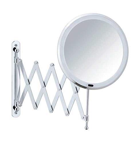 WENKO Espejo LED de pared telescopico Barona - Espejo para cosmética, espejo iluminado, de altura ajustable y extensible, 500 % aumento, Metal, 20 x 34 x 55 cm, Cromo