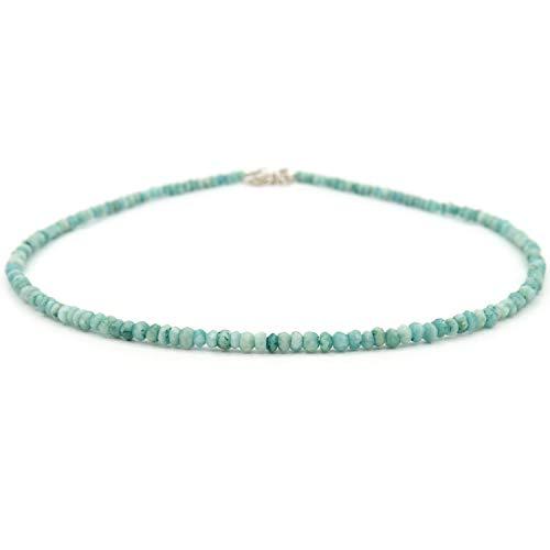 Amazonite - Collana con perle di amazzonite sfaccettate, in argento Sterling naturale amazzonite