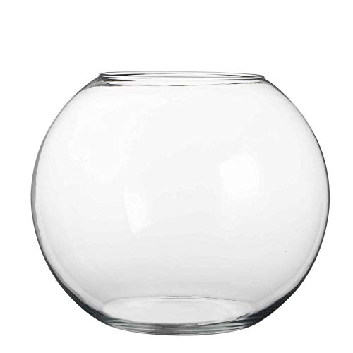 MICA Decorations Vase Babet Kugel rund transparent Glas - H 31 x Ø 40 cm - Blumenvase - Glasvase
